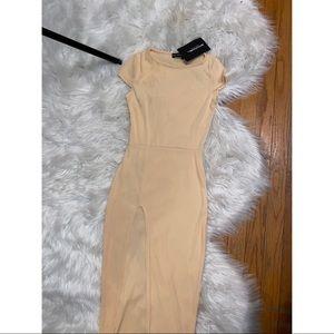 Nude midi dress